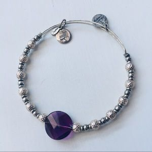 Alex and Ani Silver and Purple Bracelet